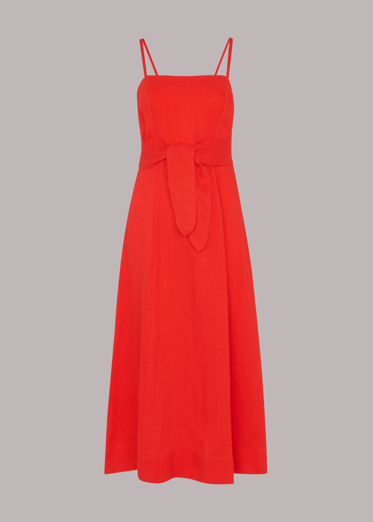 Linen Tie Front Strappy Dress Red