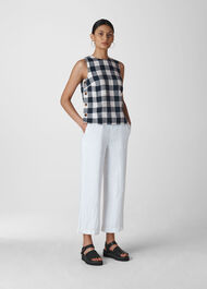 Gingham Linen Shell Top Navy/Multi