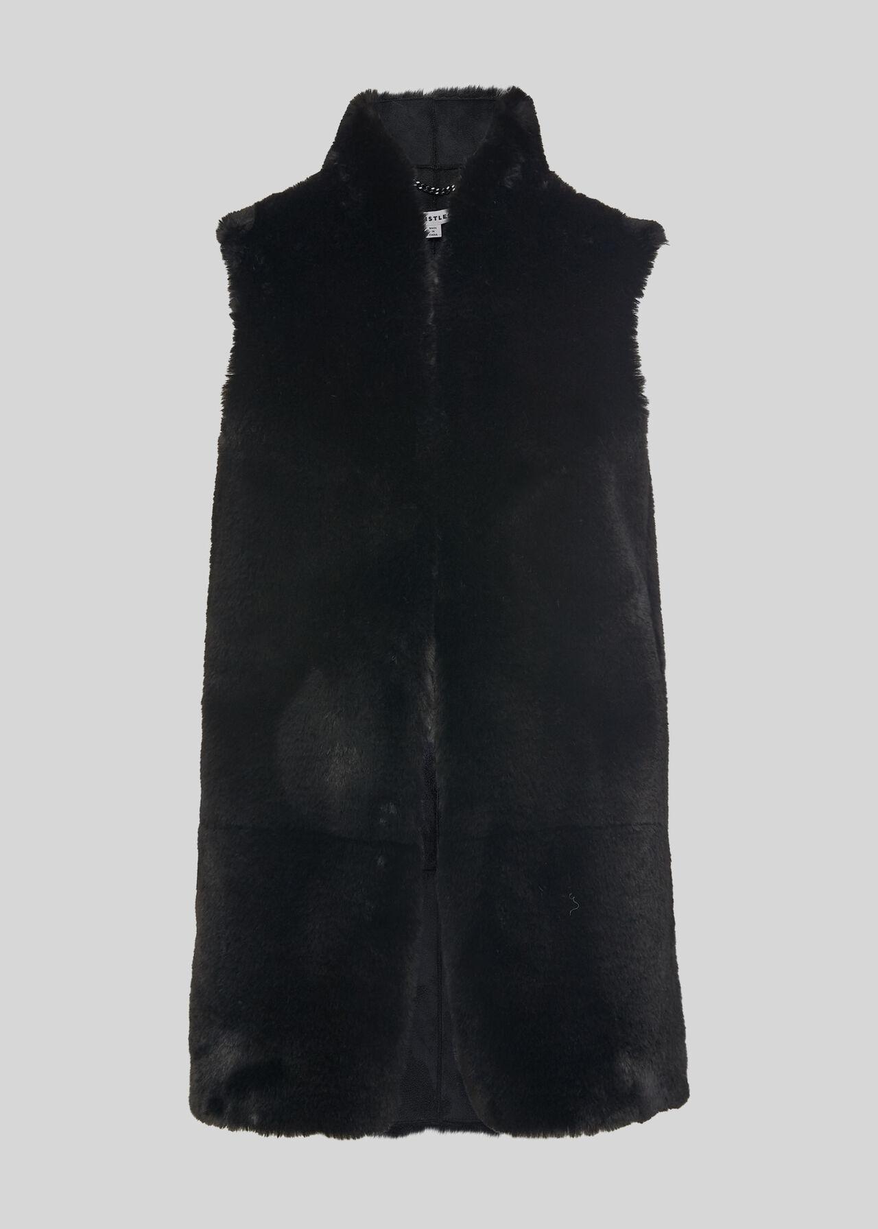 Faux Fur Gilet Black