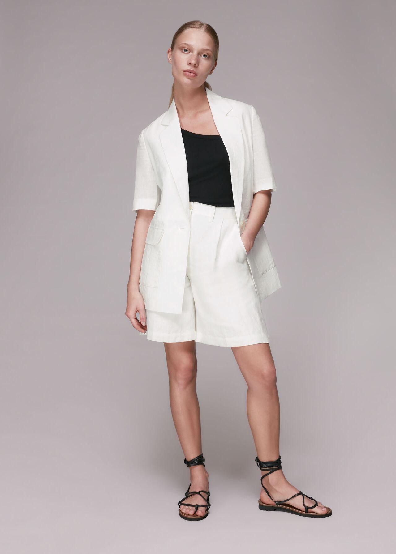 Short Sleeve Linen Jacket