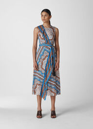 Aadya Scarf Print Dress Blue/Multi