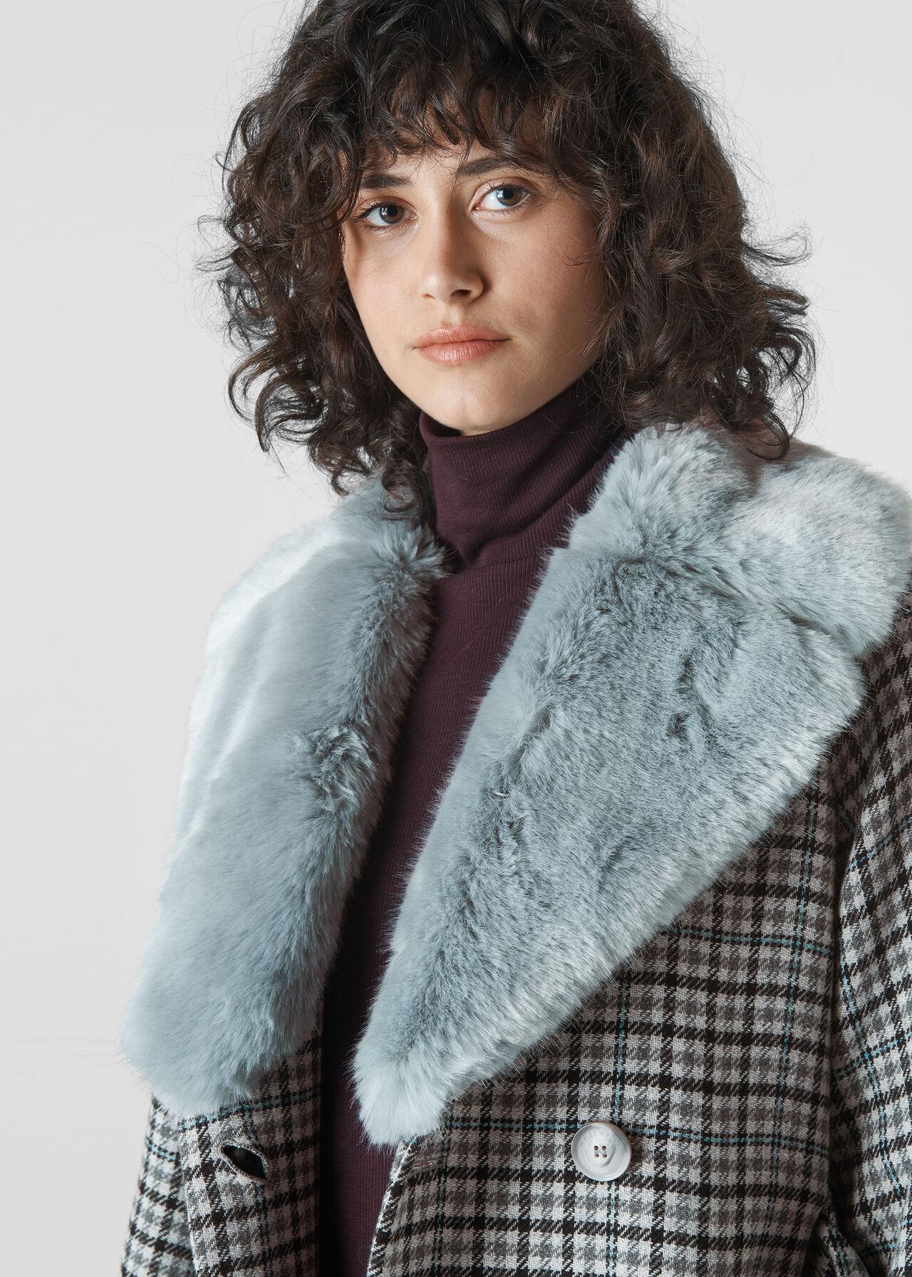 Fur Collar Coat Multicolour