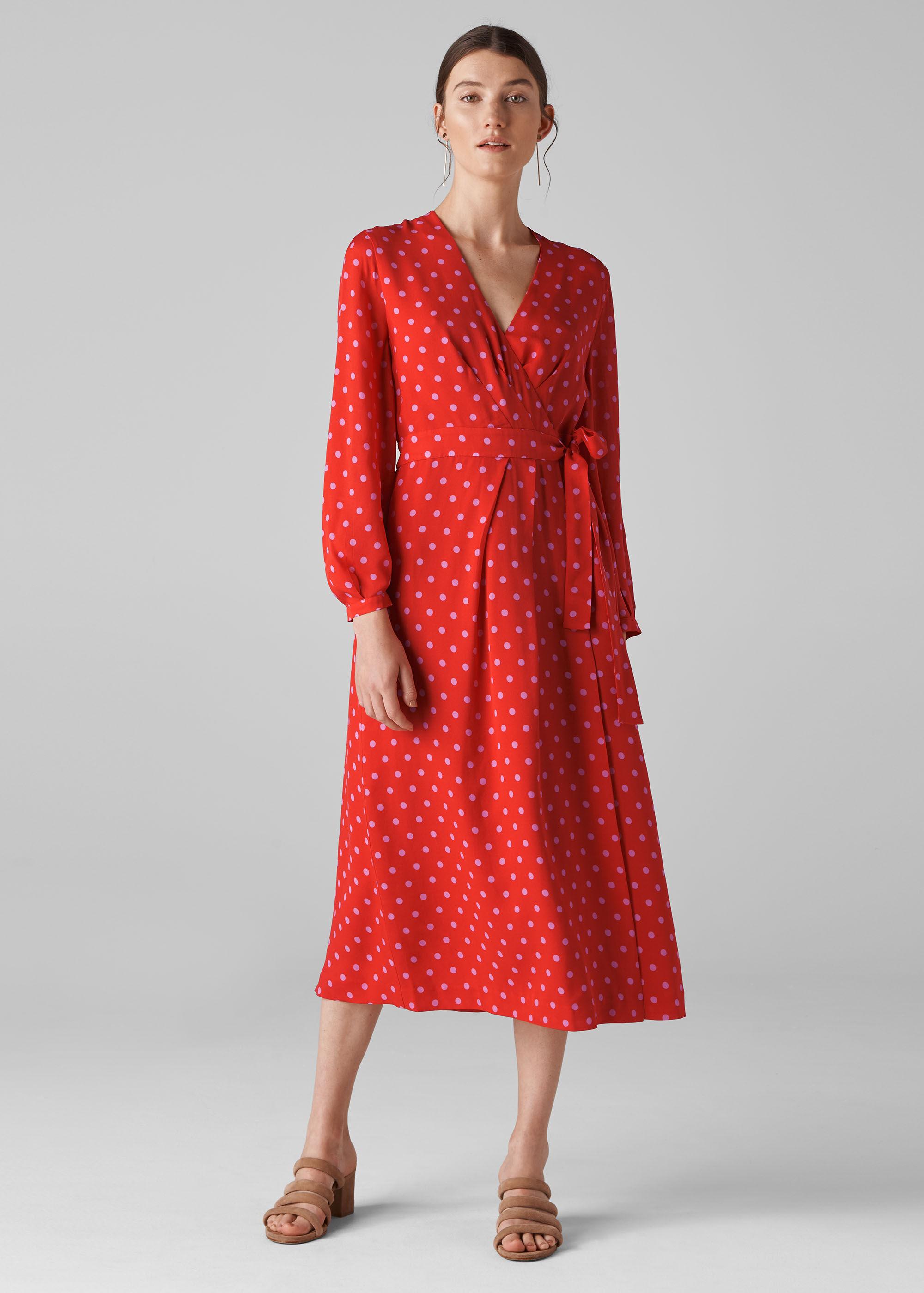 Whistles Women Maria Spot Silk Wrap Dress