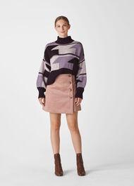 Intarsia Funnel Neck Sweater Multicolour