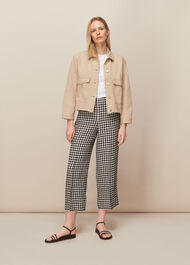 Gingham Linen Cropped Trouser Black and White