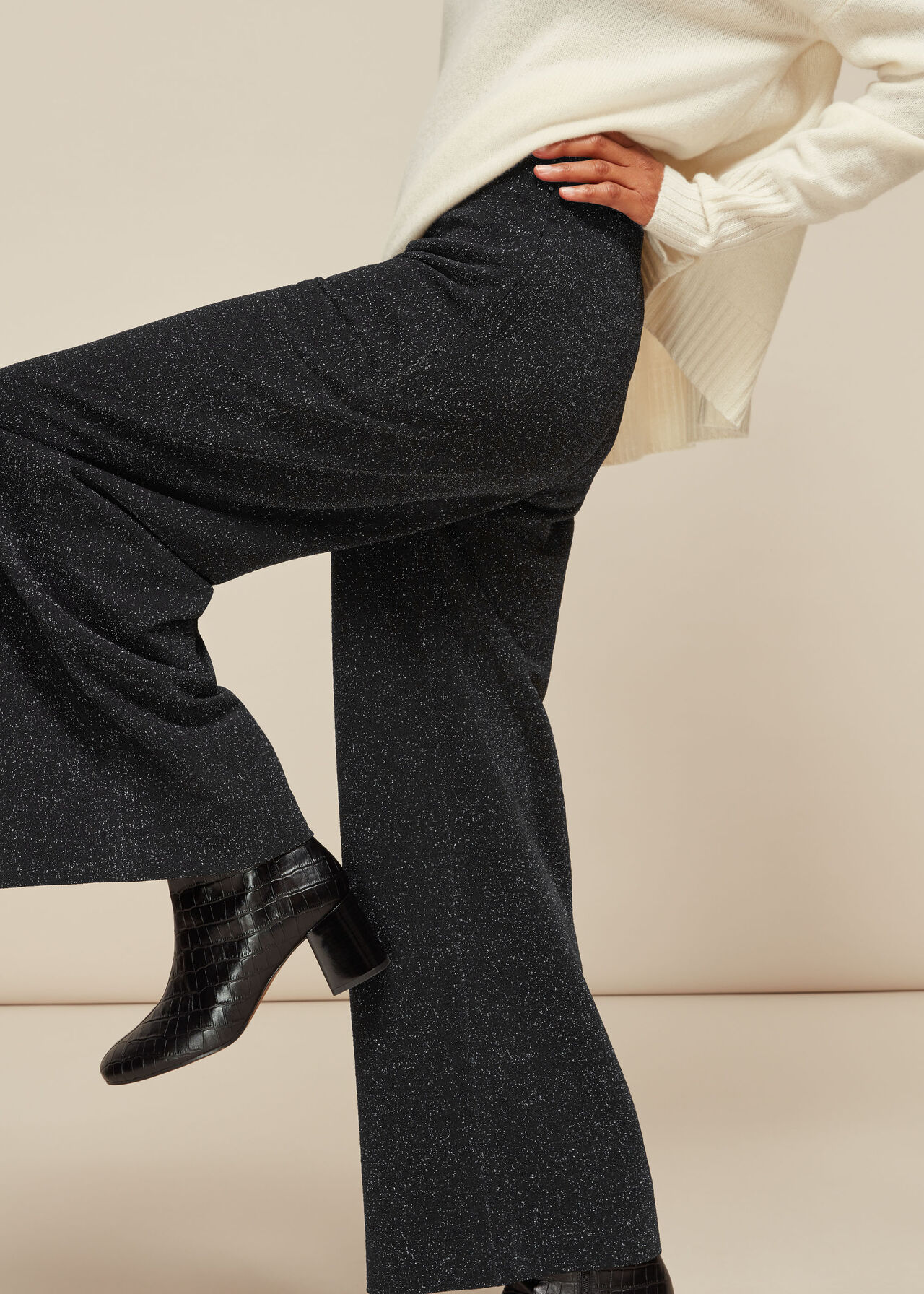 Sparkle Ponte Wide Leg Trouser