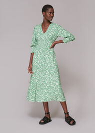 Shirred Wheat Floral Dress