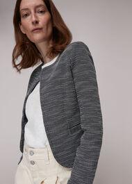 Tweed Collarless Jersey Jacket
