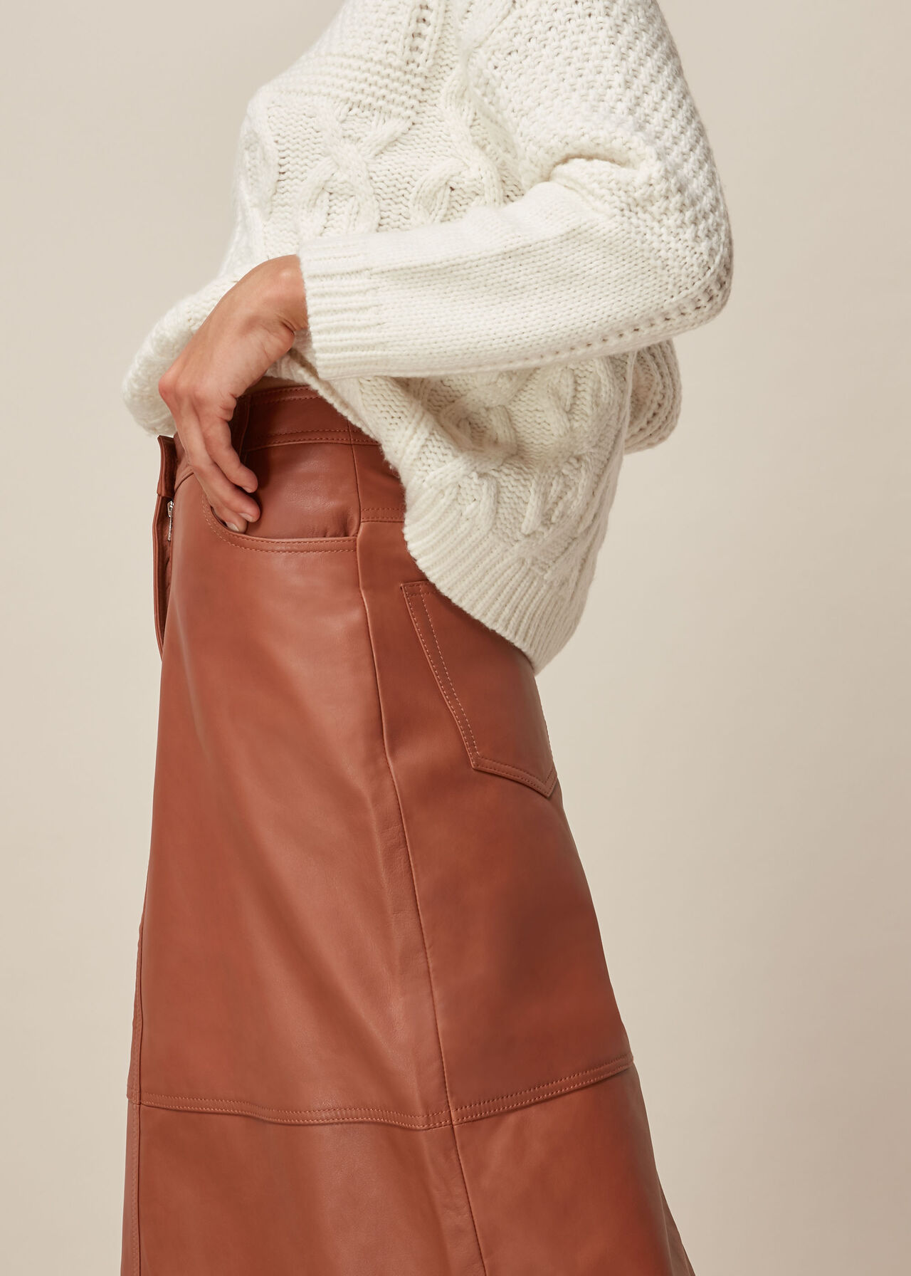 Panelled Leather Skirt