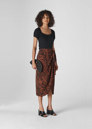 Brushed Leopard Sarong Skirt Brown/Multi