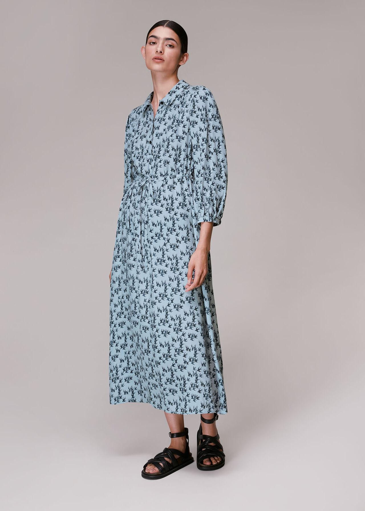 Swallows Print Midi Dress