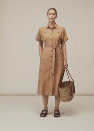 Military Belted Midi Dress Beige