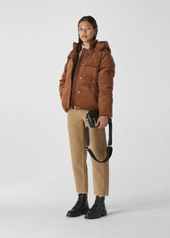 Casey Cord Puffer Jacket Brown