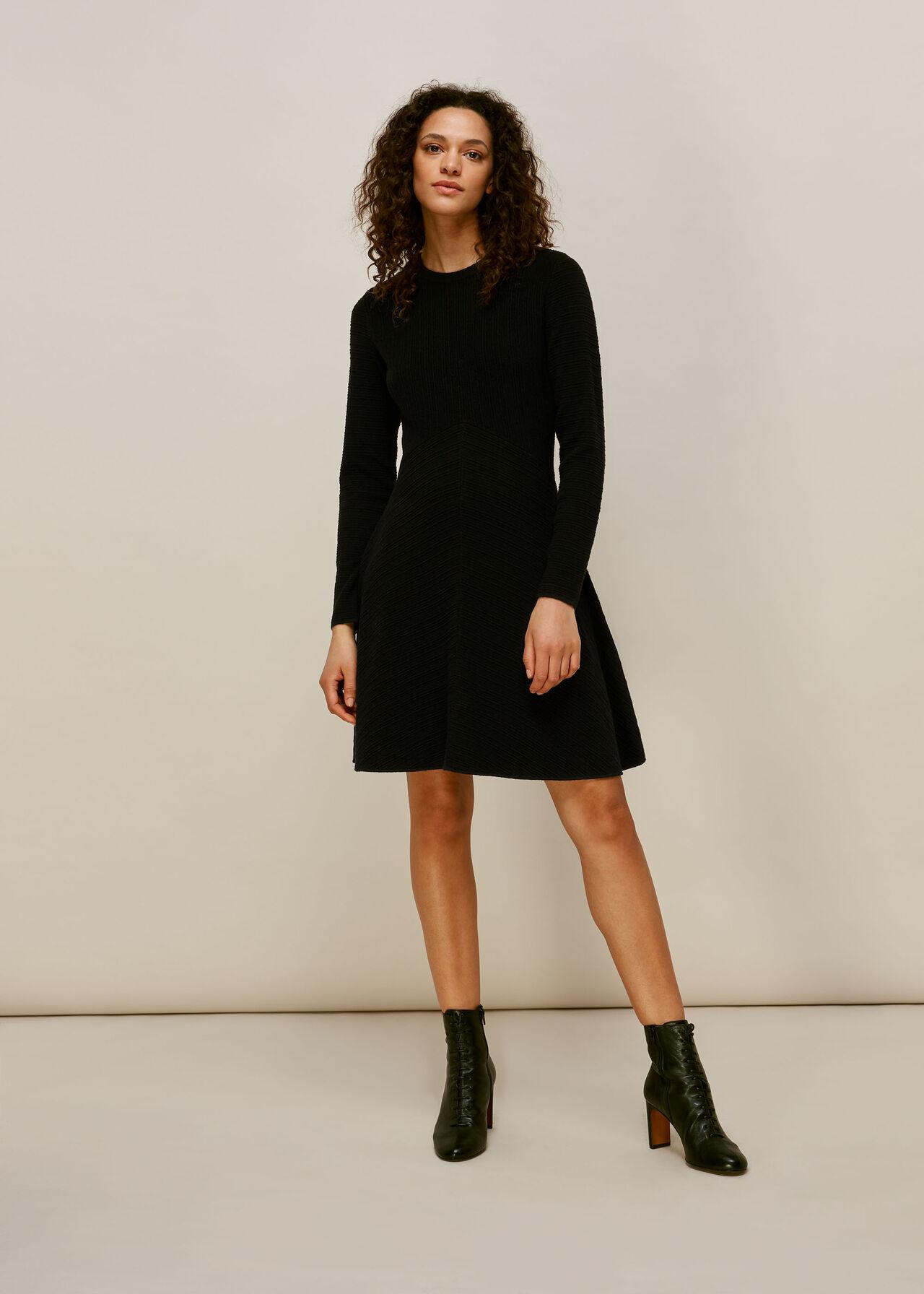 Ottoman Knitted Flippy Dress Black