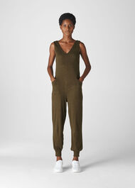 Washed Linen Jumpsuit Khaki