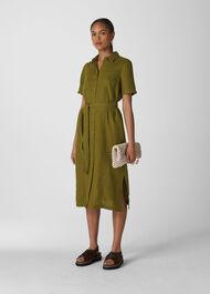 Bella Linen Shirt Dress Khaki