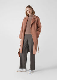 Double Faced Wool Wrap Coat Pale Pink