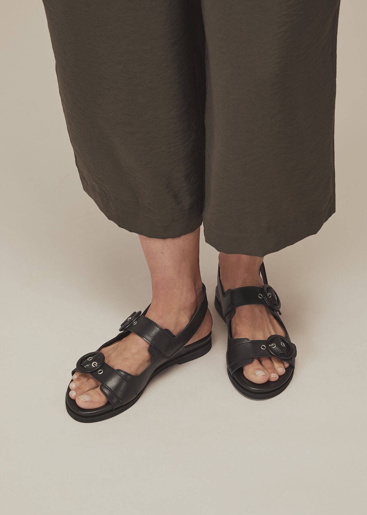 Marcie Double Buckle Sandal Black