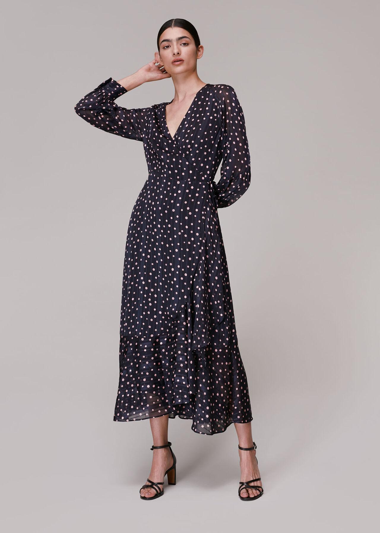 Satin Stripe Spot Wrap Dress