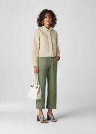 Contrast Stitch Denim Jacket Ivory/Multi