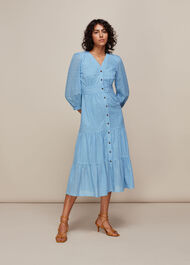 Sara Midi Broderie Dress Pale Blue