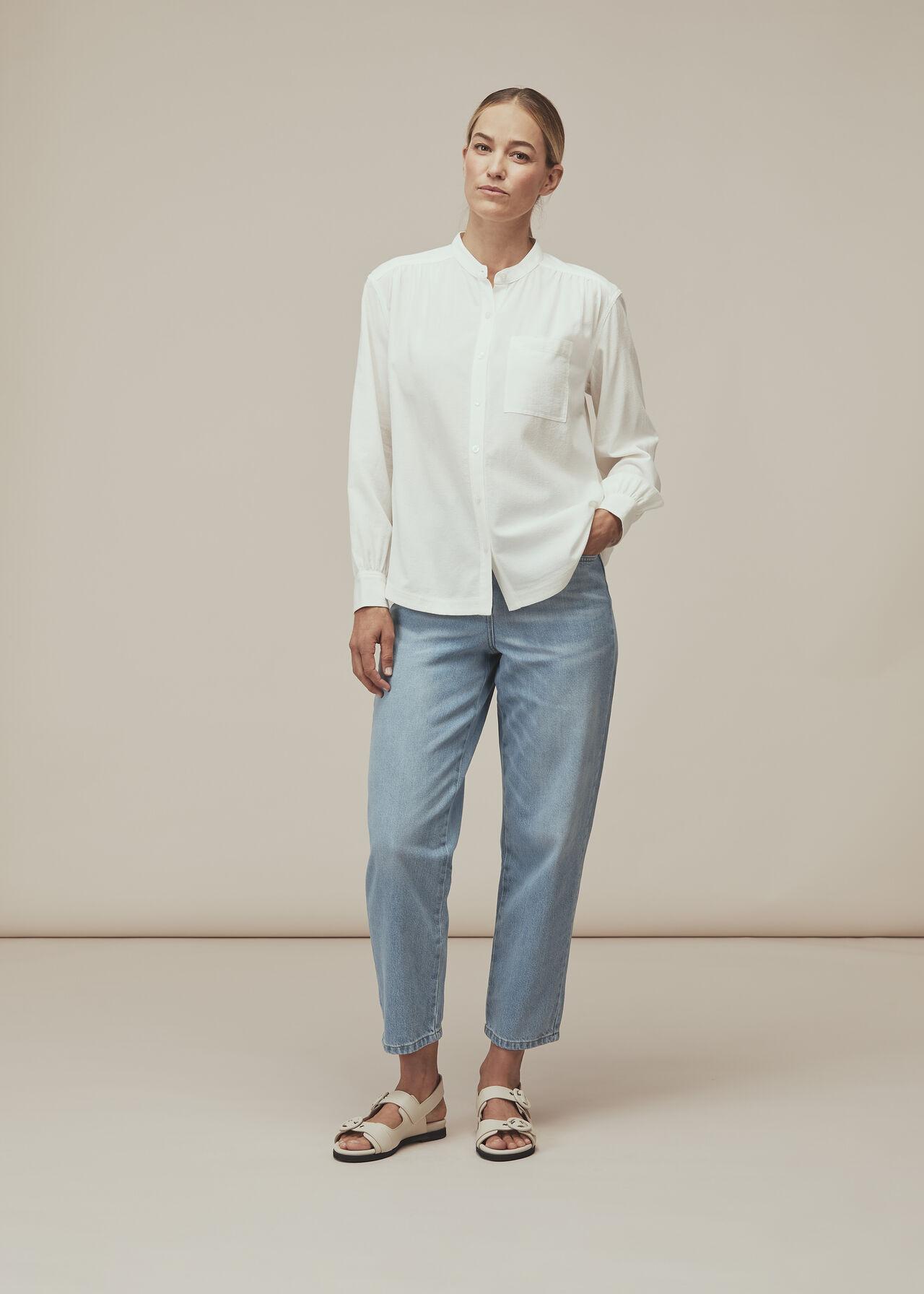Textured Gather Detail Shirt