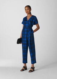 Check Wrap Linen Jumpsuit Blue/Multi