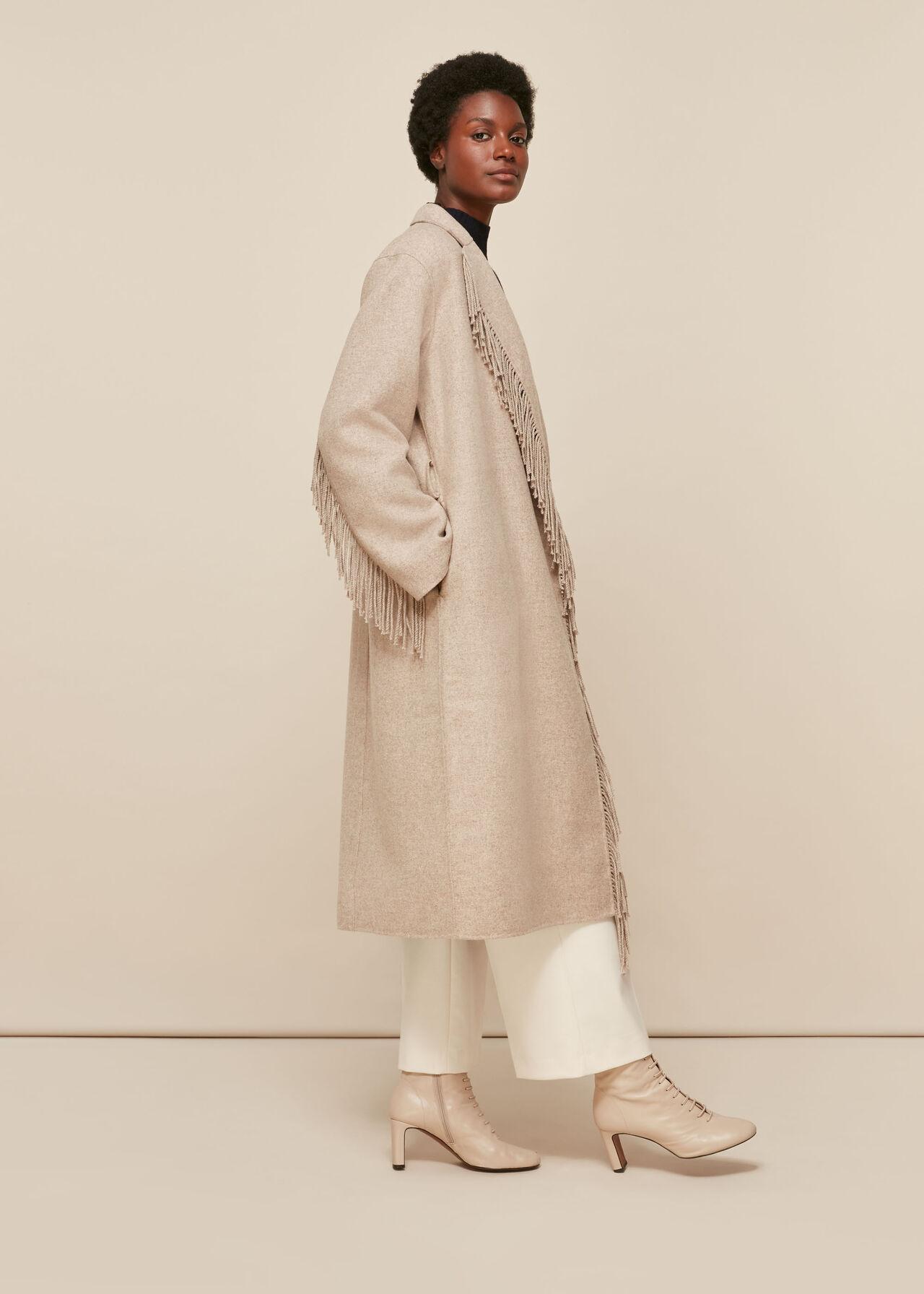 Fringe Detail Wrap Coat