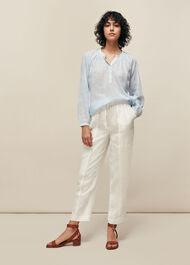 Linen Cargo Trouser White