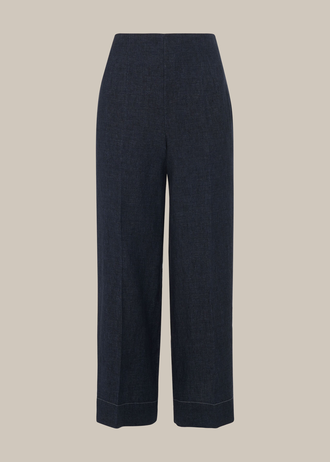 Indigo Linen Cropped Trouser Navy