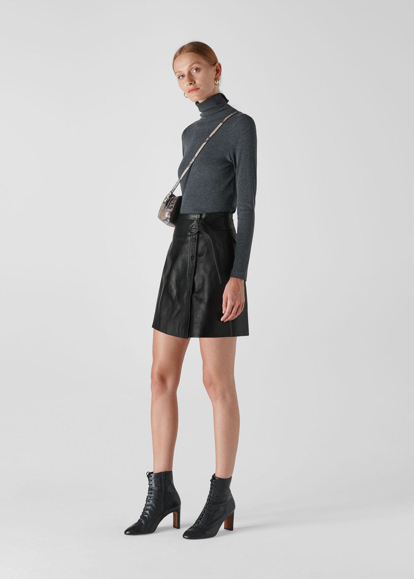 Tie Detail Leather Aline Skirt