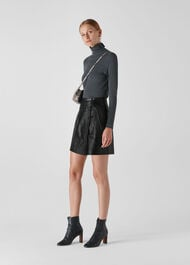 Tie Detail Leather Aline Skirt Black