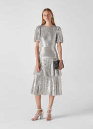 Arabelle Sequin Midi Dress Silver