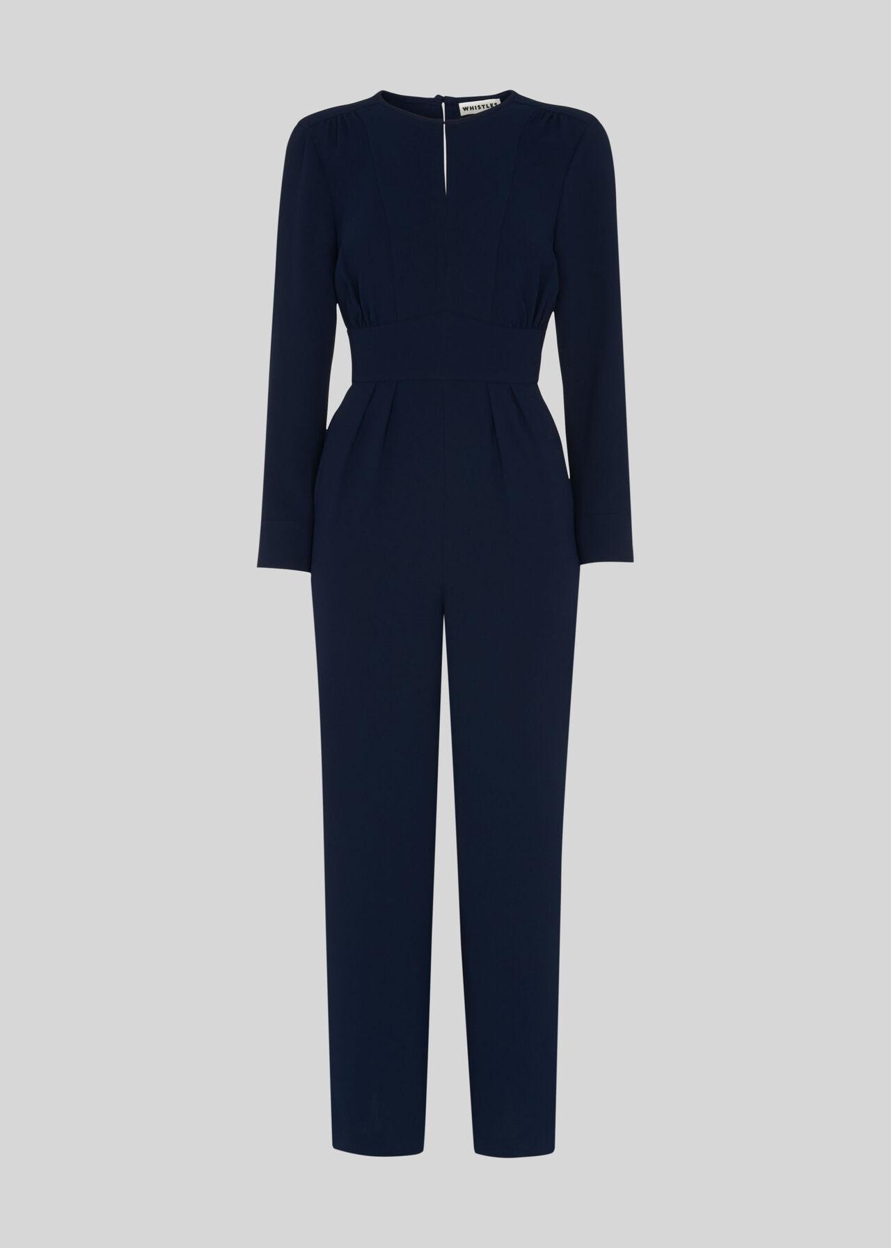 Petra Crepe Jumpsuit Navy