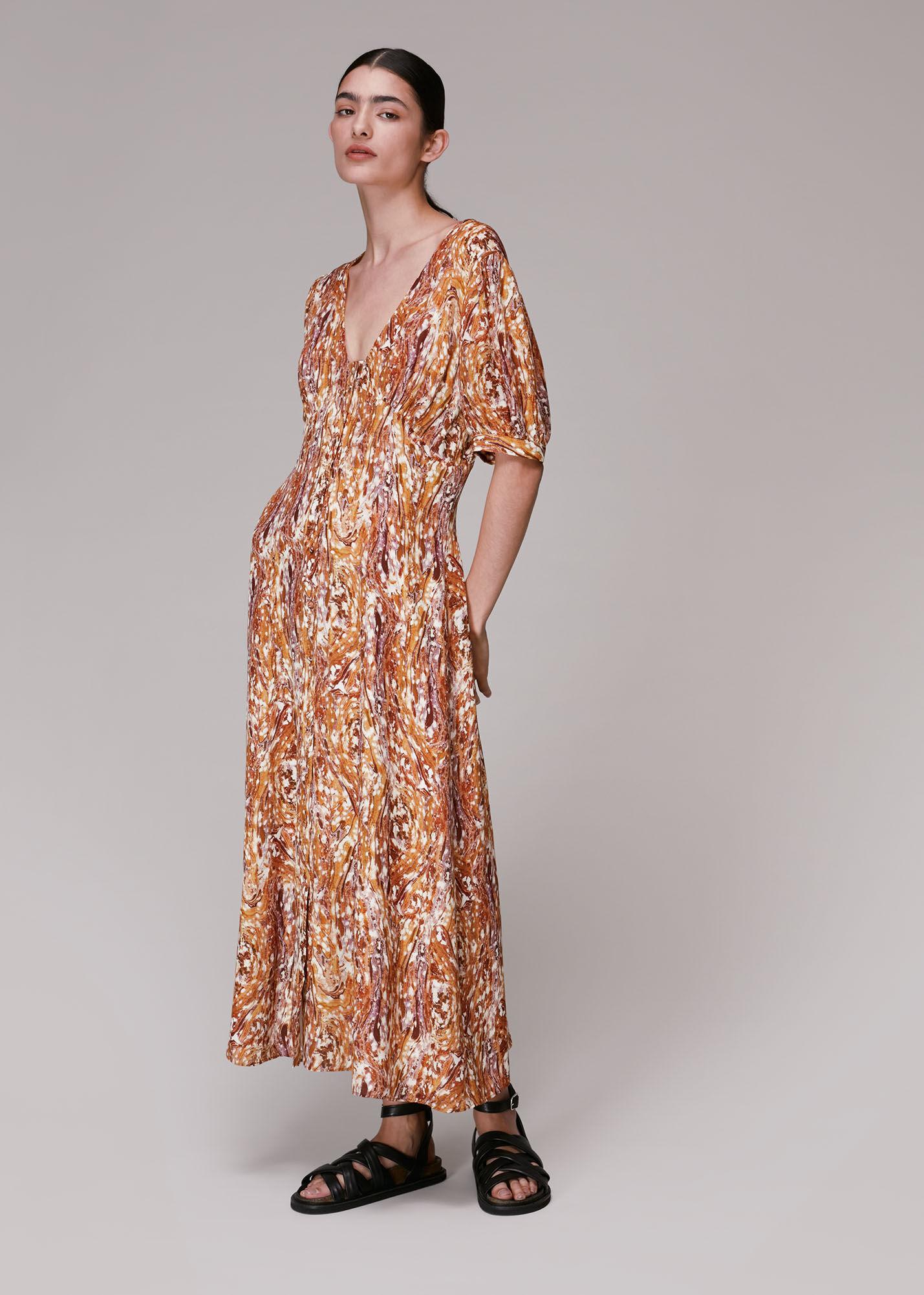 Whistles Women Marble Print Silk Midi Dress