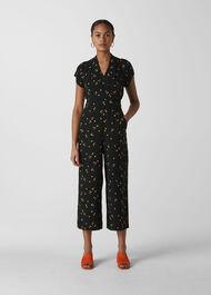 Micro Floral Tie Back Jumpsuit Black/Multi