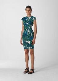 Palm Print Silk Bodycon Blue/Multi