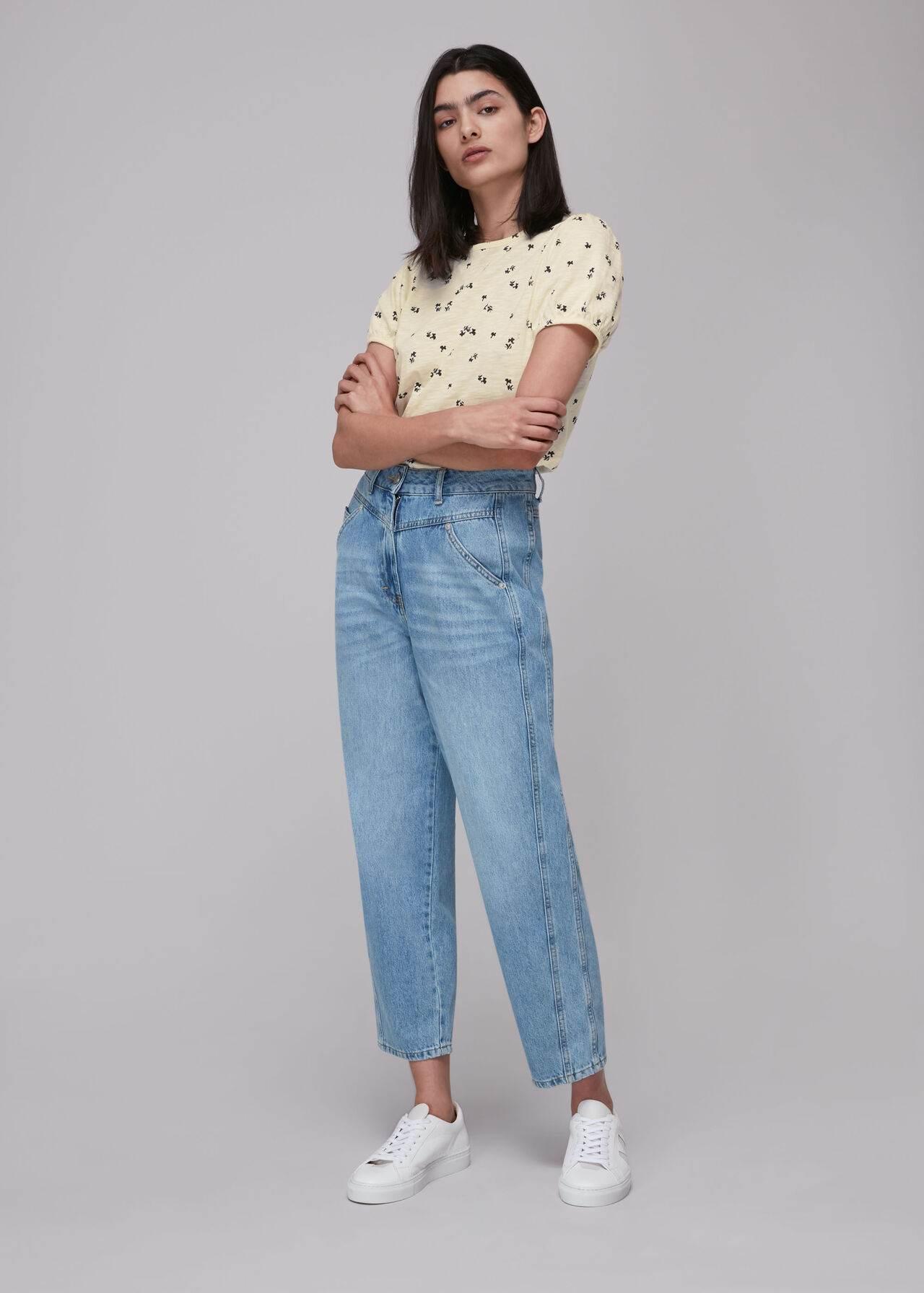 Puff Sleeve Forget Me Not Cream/Multi