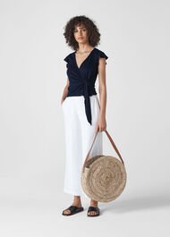 Frill Sleeve Linen Wrap Top Navy