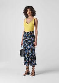 Autumn Leaf Print Skirt Black/Multi