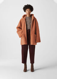 Hooded Shearling Coat Pink