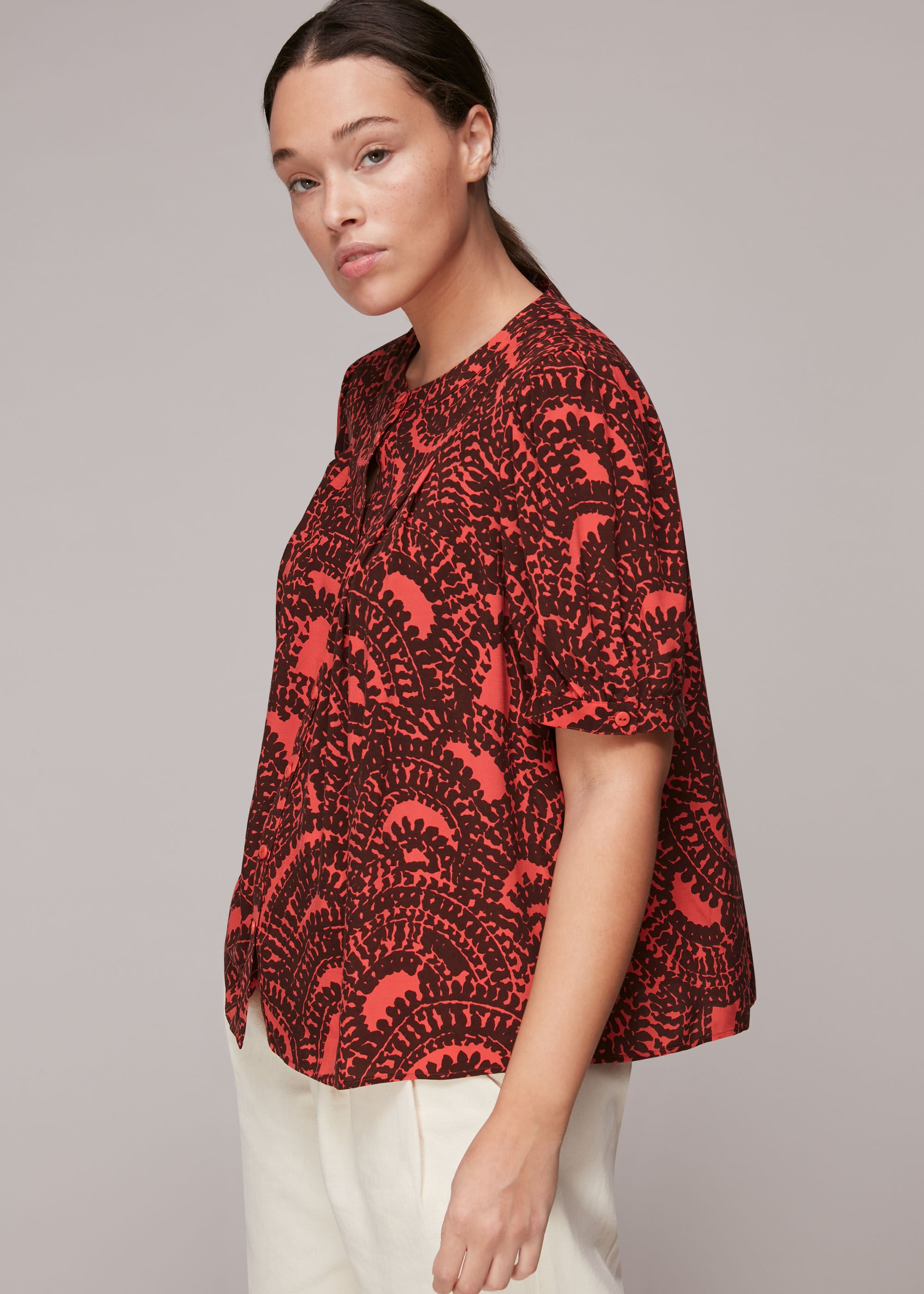Whistles Women Scallop Stamped Print Blouse
