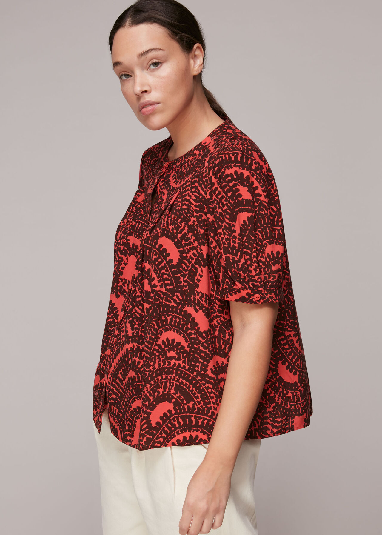 Scallop Stamped Print Blouse