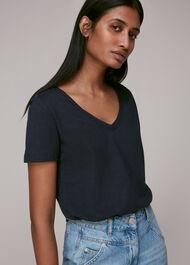 Sophie V Neck Cotton Tshirt Navy