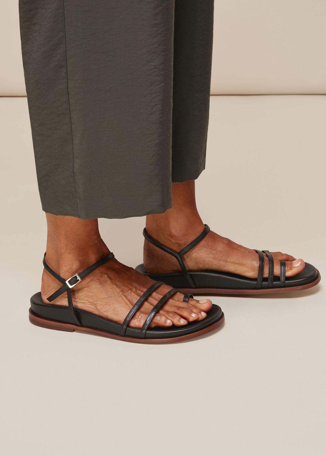 Isobel Strappy Footbed Sandal Black
