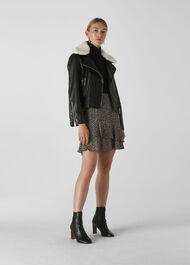 Borg Collar Leather Jacket Black