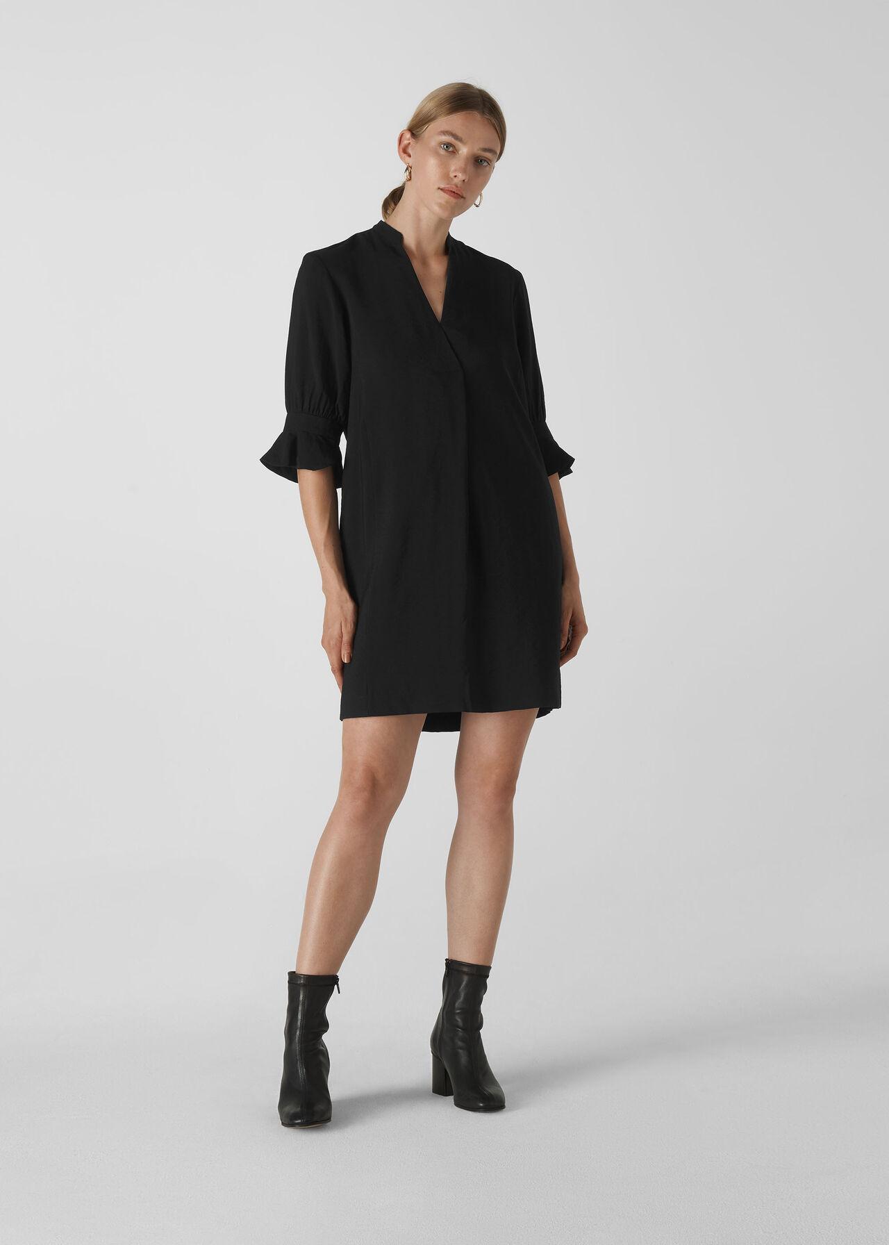 Sonia Frill Sleeve Dress Black