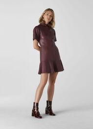 Leather Mini Dress Burgundy