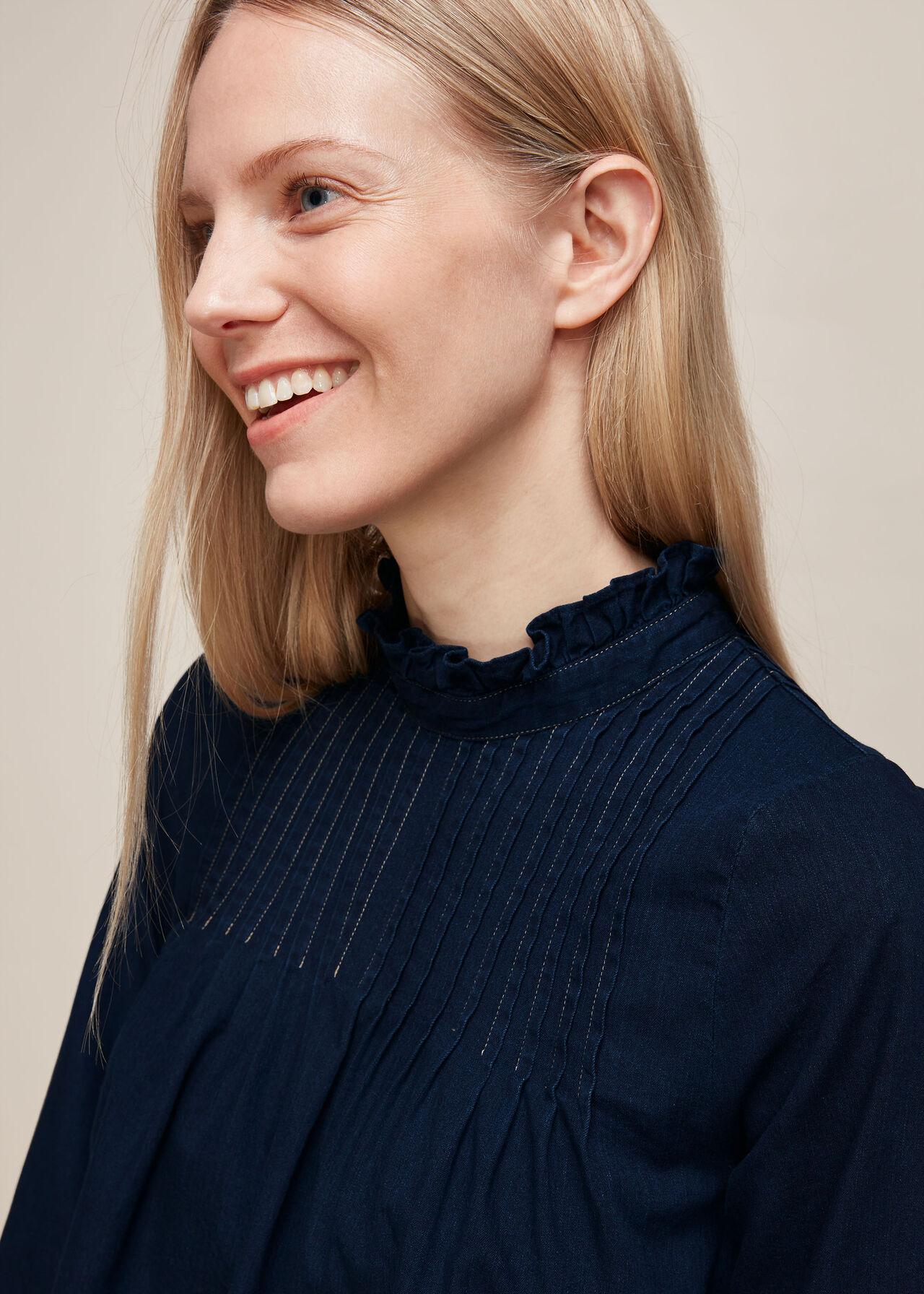 Maja Chambray Pintuck Top