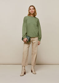 Gathered Sleeve Sweatshirt Pale Green